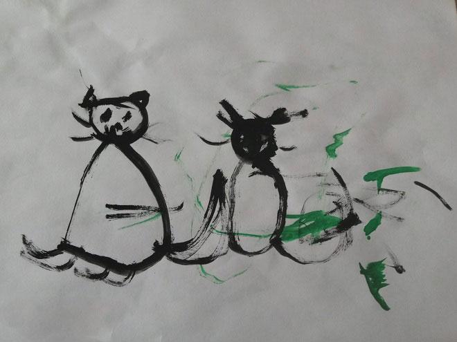 Котики на детском рисунке